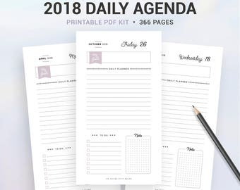 2018 DAILY PLANNER, 2018 daily agenda, Printable planner, 366 pages, day on 1 page, DO1P, Personal size, A6