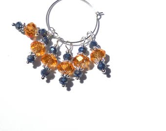 6PC. Amber Rose and Nautical Blue AB Austrian Crystal Bead Dangle Charm// AB Crystal Dangle Charms//Adorned with  Silver Tone Plated Accents