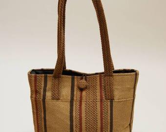 70s Vintage Handbag ⎮ Vintage Brown Tapestry Striped Handbag ⎮ Vintage Handmade Boho Purse