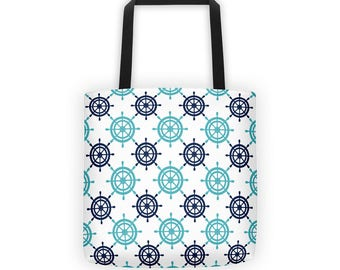 Ship's Wheel Pattern Tote Bag