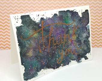 Galaxy watercolor thank you Thank you card