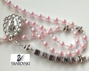Pink Pearl Rosary, Girl's Baptism Rosary, Girl Communion Rosary, Small Catholic Rosary, Personalized Rosary, Baby Girl Rosary