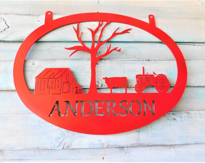 Metal Farm Sign, Metal Farm Name Sign, Ranch Sign, Welcome Sign, Entryway Sign, Gift for dad, Ranch Decor, Gifts for Him, Farm Gate Sign