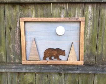 Bear in the Mountains Wood Wall Art, Rustic Nursery Art, Wood Mountain Decor, Wilderness Nursery, Woodland Bear in Moonlight, Forest Animals