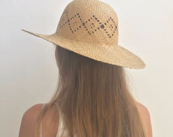 A027 Woven Beach Hat | Simple Straw Beach Hat | Open Weave Farmer Hat | Sun Hat | Summer Straw Hat | Jute Hat
