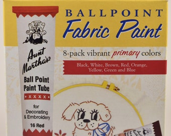 Aunt Martha's BALLPOINT Fabric Paint 8-pack vibrant Primary colors (black, white, brown, red, orange, yellow, green and blue) BRAND NEW