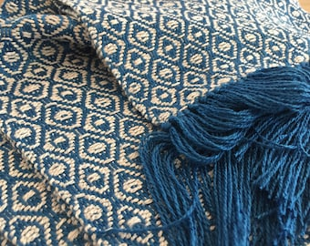 Handwoven Scarf Bamboo Royal Blue and Natural White