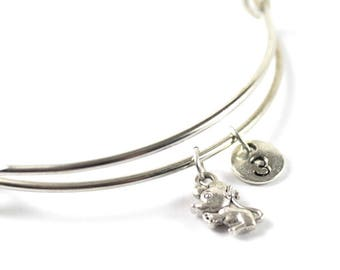 MOUSE charm bangle, little mouse charm, personalized bangle, initial bangle, personnalized bracelet, initial hand stamped, monogram bracelet
