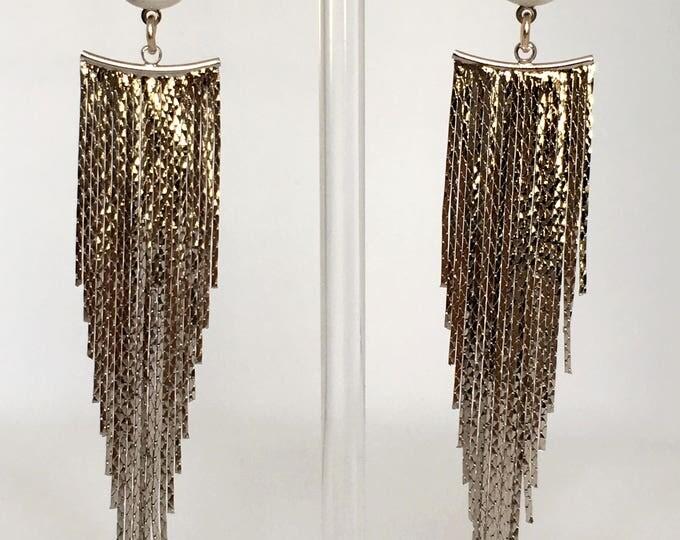 Silver drop earrings in brass and Howlite gemstone.