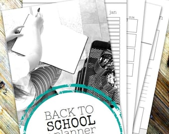 BACK TO SCHOOL Planner - Printable planner - Instant Download - 76 page pdf in A4 and Letter sizes - Sun/Mon start - Undated