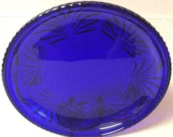 "Vintage Cobalt Blue Lace Pattern Round Serving Platter 11"" Diameter"