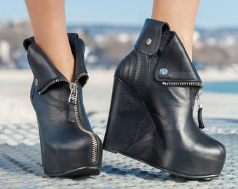 """Black Genuine Leather shoes/Genuine Leather wedges/Sexy Extravagant """"Must Have"""" All seasons Shoes/black genuine leather platform boots"""