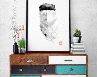 Art print Black white illustration Living room bedroom decor Contemporary wall decor Feather watercolor painting artwork Feather drawing
