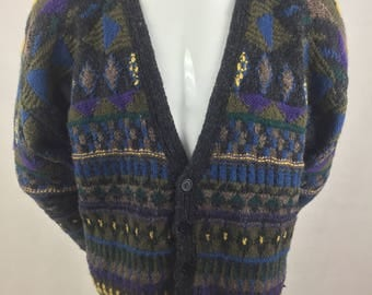 Vintage Marshall Field's Store for Men New Traditions/Hand Loomed Cardigan Sweater/100% Wool Shetland/Size L
