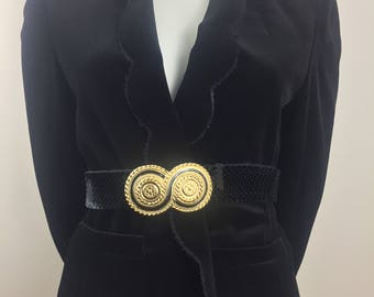 Vintage Act III Black Velvet Jacket with High Collar and Scalloped Hem/Size Large