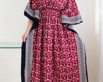 Indian Dress, kaftan maxi dress, Indian caftan, bohemian dress, cotton caftan, caftan dress, kaftan for women, Indian print (maroon warli