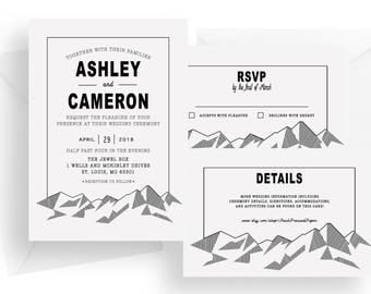 Printed modern mountain wedding invitation suite - simple wedding invite rsvp and detail card