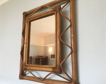 Rare Vintage French Bamboo Rectangular Mirror 1970s Boho