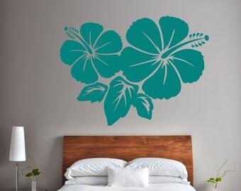 Hibiscus Wall Sticker Vinyl Hawaiian Tropical Flower Decal Stencil Art Gift