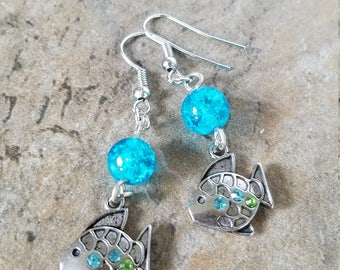 Fish Silver Tone Drop Earrings with glass beads