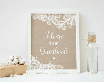 Guestbook Sign, Wedding Guest Book, Sign Our Guestbook, Wedding Sign In, Wedding Decor, Burlap and Lace