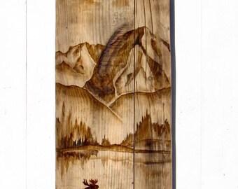RUSTIC CAMP DECOR - Moose Wall Art  - Reclaimed Wood Decor - Lodge Decor - Rustic Cabin Decor - Moose Decor -Hunting Decor - Moose