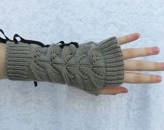 Gray ribbed knit wrist warmers with criss-cross black ribbon, hand warmers corset style, biker fashion