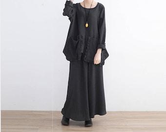 Cotton shirt, plus size shirt, women shirt, big pockets shirt, oversized shirt, black shirt, extravagant shirt, black cotton shirt, long 48