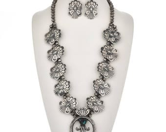 Navajo Sterling Turquoise Squash Blossom Necklace Set with Earrings