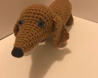 Crochet stuffed weenie dog