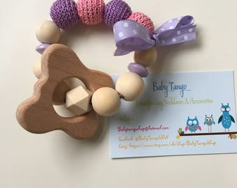 Baby woodenTeether - Cotton