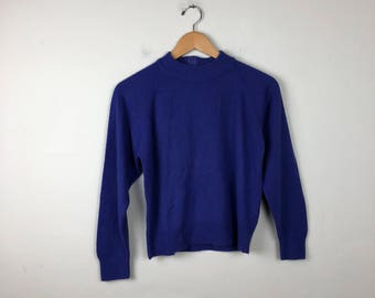 Vintage Purple Mock Neck Sweater Size Small