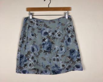 Vintage Floral Skirt Size 29, Blue Floral Skirt, Pastel Skirt Medium