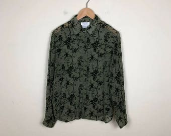 Vintage Chiffon Blouse Size Large, Olive Green Blouse, Velvet Blouse