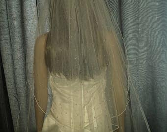 """Wedding veil cathedral length 2 tiers 30""""/ 108"""" scattered with Swarovski crystals in White, Ivory or Light Ivory. FREE UK POSTAGE"""