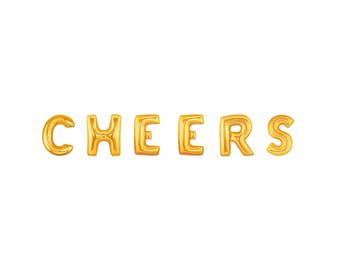 """CHEERS Balloons - Giant 40"""" Gold Letter Balloons - Party balloons - Party Decor - Balloon Banner - Cheers Letter Balloons - Cheers Banner"""