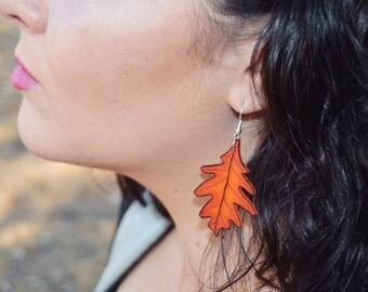 Orange Oak Leaf Earrings
