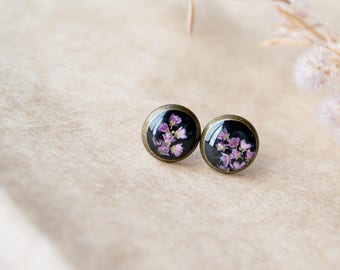 Nature resin jewelry Terrarium jewelry Botanical resin jewelry Bridesmaid earrings  Real flower jewelry Bridesmaid flower earrings