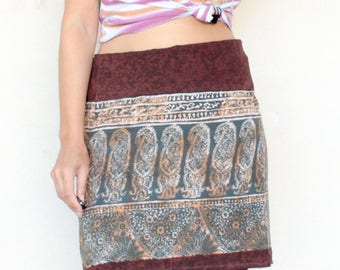 Vintage Paisley Print Wraparound Skirt