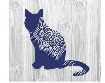 Cat Mandala SVG, Cat DXF, png Digital Download File, Boho, Hippie, Cricut, Silhouette, Cut File, Vinyl Decal, .dxf, .SVG File, Design Space