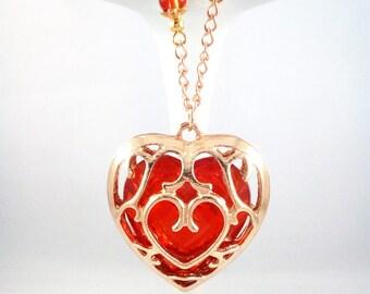 """Zelda """"Heart Container"""" Golden Necklace"""