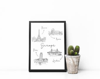 Europe, Hand Drawn Sketch, Paris, Rome, London, Monuments, Travel, Wanderlust, Printable Wall Art, Home Decor, Digital Print, Download