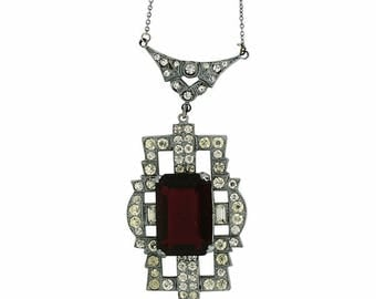 1920s Red Glass and Rhinestone Vintage Necklace