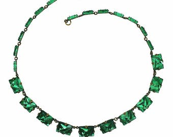 1920s Green Art Deco Mirror Glass Vintage Necklace