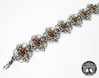 Steampunk bracelet Chainmaille bracelet Womens bracelet Mens rustic bracelet Mens bracelet Chain maille bracelet Best gift For him For her