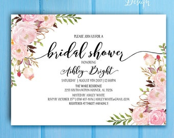 Bohemia Bridal Shower Invitation, Floral Boho Bridal Shower Invitation. Printable Bridal Shower Invitation - US_BI0304