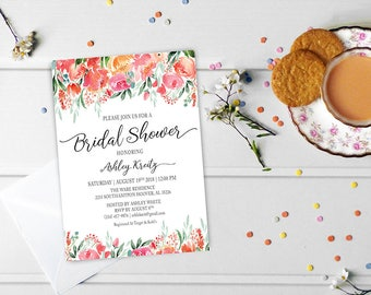Watercolor Bridal Shower invitation, Bridal shower invitation, Rustic bridal shower invitation, Floral Bridal Shower - US_BI1805a