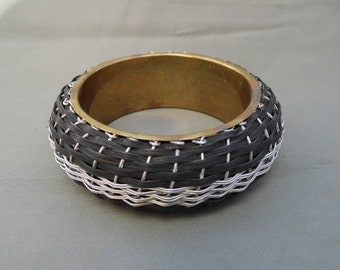 Vintage Wicker Bracelet, Woven Metal Bracelet, Boho Bracelet, Braided Bracelet, Woven Bracelet, Wicker Jewellery, Metal Wicker Bracelet