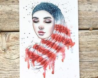 Islamic Art // Muslim hijab, american flag art, Activist gift, American Muslim, Middle eastern