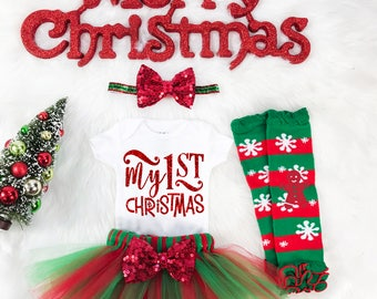 Baby girl first Christmas outfit, Baby First Christmas outfit, Christmas dress for girl, Christmas onesie®, Baby Girl clothes, Gift for girl